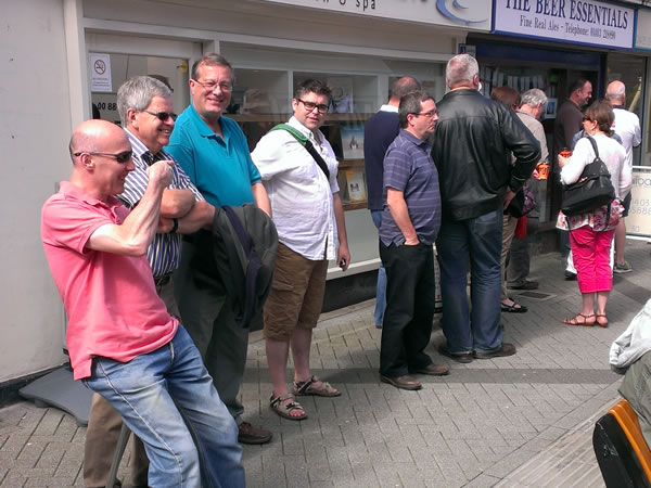 People queueing outside The Beer Essentials