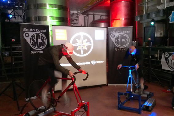 Cycling roller racing at Dark Star Brewery